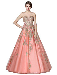 cheap -A-Line Sweetheart Neckline Floor Length Lace / Tulle Open Back / Cute Prom Dress with Appliques / Crystals 2020