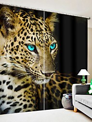 cheap -Blue Eye Brown Leopard Digital Printing 3D Curtain Blackout Curtain High Precision Black Silk Fabric High Quality Curtain