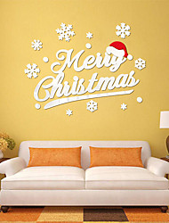cheap -Christmax hat 3D wall stickers acrylic wall decals mirrored home decor festival