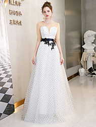 cheap -A-Line Jewel Neck Floor Length Tulle Beautiful Back Prom / Formal Evening Dress 2020 with Beading