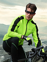 cheap -Nuckily Men's Long Sleeve Cycling Jacket with Pants Winter Fleece Silicone Green Red Blue Bike Clothing Suit Thermal / Warm Waterproof Windproof Breathable 3D Pad Sports Solid Color Mountain Bike MTB