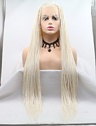 cheap -Synthetic Lace Front Wig Plaited Braid Lace Front Wig Medium Length Creamy-white Synthetic Hair 26 inch Women's Women Braided Wig White Sylvia