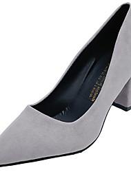 cheap -Women's Heels Chunky Heel Pointed Toe PU Fall & Winter Black / Red / Gray