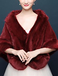 cheap -Sleeveless Wool / Faux Fur / Orlon Wedding / Party / Evening Women's Wrap / Women's Scarves With Fur Capes