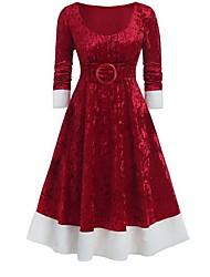 cheap -Women's Christmas Party Elegant A Line Dress - Solid Colored Purple Blue Red S M L XL