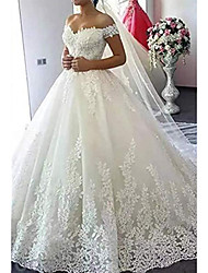cheap -A-Line Off Shoulder Court Train Lace Short Sleeve Made-To-Measure Wedding Dresses with Appliques 2020