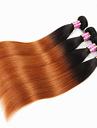 """cheap -4 Bundles Brazilian Hair Straight Virgin Human Hair Remy Human Hair Ombre Hair Weaves / Hair Bulk Human Hair Extensions Ombre 12""""~26"""" Multi-color Human Hair Weaves Natural Best Quality African"""