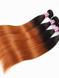 """Недорогие -4 Связки Бразильские волосы Прямой Не подвергавшиеся окрашиванию человеческие волосы Remy 400 g Омбре Накладки из натуральных волос 12""""~26"""" Разноцветный Ткет человеческих волос / Необработанные"""