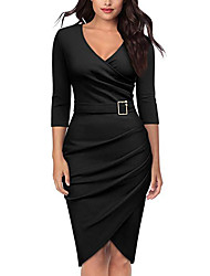 cheap -Women's Swing Dress - Half Sleeve Solid Colored Drawstring Deep V Street chic Festival Slim Wine White Black Red Green Navy Blue S M L XL XXL XXXL