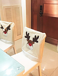 cheap -1 Pcs Christmas Deer Decoration Sets Of Non-Woven Chair Covers New Year Dining Room