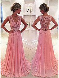 cheap -A-Line V Wire Court Train Chiffon Cute / Elegant Formal Evening Dress with Appliques / Pleats 2020