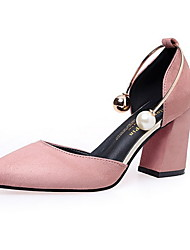cheap -Women's Sandals Chunky Heel Pointed Toe Suede Fall & Winter Black / Wine / Pink