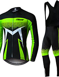 cheap -21Grams Men's Long Sleeve Cycling Jersey with Bib Tights Winter Fleece Green / Black Bike Clothing Suit UV Resistant Quick Dry Sports Solid Color Mountain Bike MTB Road Bike Cycling Clothing Apparel