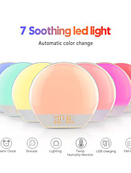 cheap -Wake Up Light Alarm Clock with Sunrise/Sunset Simulation Dual Alarms Bedside Night Lamp Snooze Function FM Radio 7 Colorful Atmosphere Lamp USB Phone Charging PortIdeal Gift