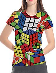 cheap -Women's Daily Club Basic / Exaggerated T-shirt - Geometric / 3D / Graphic Rubik's Cube, Print Rainbow
