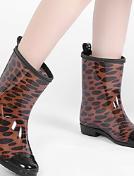 cheap -Women's Boots Rain Boots Rain Boots Animal Print Low Heel Round Toe Mid Calf Boots Casual Daily PU Leopard Leopard Black Dusty Rose