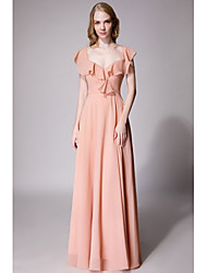 cheap -A-Line V Neck Floor Length Chiffon Bridesmaid Dress with Bow(s) / Ruffles by LAN TING Express