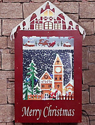 cheap -Christmas Ornaments Holiday Wooden Square Cartoon Christmas Decoration