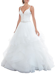 cheap -A-Line Sweetheart Neckline Court Train Lace / Tulle Spaghetti Strap Beautiful Back Made-To-Measure Wedding Dresses with Appliques / Cascading Ruffles 2020