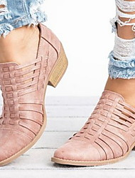 cheap -Women's Boots Chunky Heel Round Toe PU Booties / Ankle Boots Winter Black / Almond / Pink