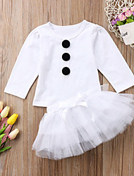 cheap -Baby Girls' Casual / Active White Solid Colored Drawstring Long Sleeve Long Clothing Set White