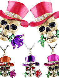 cheap -Men's Pendant Necklace Necklace Classic Skull Flower Shape Statement Classic Trendy Ethnic Chrome Imitation Diamond Purple Red Pink Coffee 52 cm Necklace Jewelry 1pc For Halloween Gift Daily Club