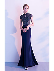 cheap -Mermaid / Trumpet High Neck Floor Length Polyester / Tulle Sexy / Sparkle & Shine Formal Evening Dress 2020 with Beading