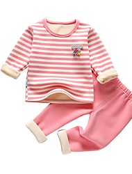 Χαμηλού Κόστους -Μωρό Κοριτσίστικα Κομψό στυλ street Ριγέ Μακρυμάνικο Κανονικό Σετ Ρούχων Ανθισμένο Ροζ