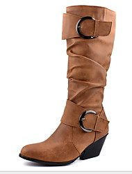 cheap -Women's Boots Chunky Heel Round Toe PU Mid-Calf Boots Winter Black / Light Brown / Dark Brown