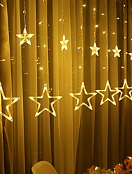 cheap -2.5m 138 LEDs Icicle LED Star Fairy Lights Christmas Stardust Décor Garland Curtain String Lights Star Lamp for Bedroom Outdoor Wedding Party New Year's Decoration