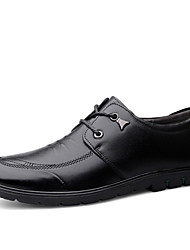 cheap -Men's Comfort Shoes Nappa Leather Spring & Summer / Fall & Winter Casual Oxfords Non-slipping Black