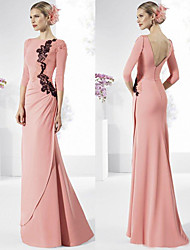 cheap -Mermaid / Trumpet Elegant Open Back Formal Evening Dress Jewel Neck 3/4 Length Sleeve Floor Length Spandex with Beading Appliques Side Draping 2020