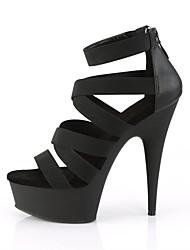 cheap -Women's Sandals Heel Sandals Black Sandals Summer Stiletto Heel Peep Toe British Roman Shoes Office & Career Solid Colored PU Black