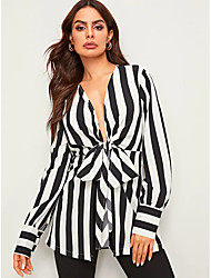 cheap -Women's Going out Work Basic Blouse - Striped Bow / Lace up / Print Black