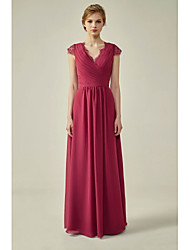 cheap -A-Line V Neck Floor Length Chiffon / Lace Bridesmaid Dress with Ruching