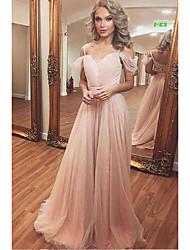 cheap -A-Line Spaghetti Strap Sweep / Brush Train Chiffon Cute / Elegant Prom Dress with Pleats 2020