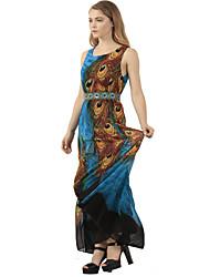 cheap -Women's Festival Boho Swing Dress - Animal Print Green M L XL XXL