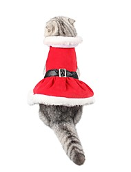cheap -Dog Cat Costume Coat Puppy Clothes Solid Colored Casual / Daily Warm Ups Christmas Party Winter Dog Clothes Puppy Clothes Dog Outfits Red Costume for Girl and Boy Dog Terylene S