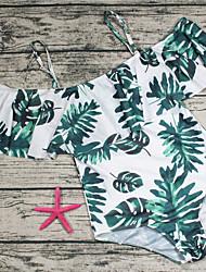 رخيصةأون -أسود S M L بدون ظهر كشكش ورد, ملابس السباحة قعطة واحدة مايوه مثير عالي الخصر أسود أبيض أخضر داكن أساسي نسائي
