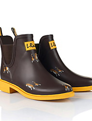 cheap -Women's Boots Rain Boots Flat Heel Round Toe PU Booties / Ankle Boots Fall & Winter Yellow / Gray / Coffee