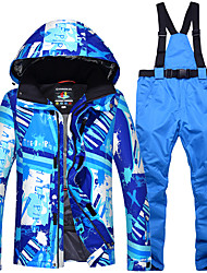 cheap -ARCTIC QUEEN Men's Ski Jacket with Pants Camping / Hiking Winter Sports Waterproof Windproof Warm Polyester Jacket Pants / Trousers Clothing Suit Ski Wear