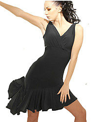 cheap -Latin Dance Dresses Women's Training / Performance Milk Fiber Ruching Sleeveless Natural Dress