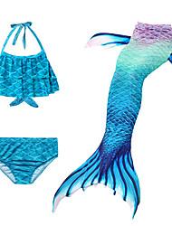 abordables -Enfants Fille Actif Le style mignon Petite Sirène Géométrique Sans Manches Maillot de Bain Bleu