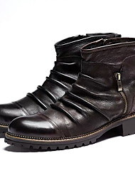 cheap -Women's Boots Low Heel Round Toe PU Booties / Ankle Boots Winter Black / Coffee