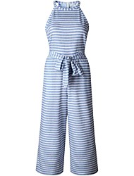 cheap -Women's Basic / Street chic Black Blue Jumpsuit, Striped Print / Drawstring S M L