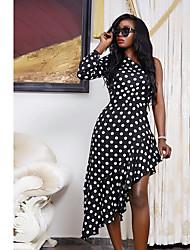cheap -Women's Elegant Asymmetrical Swing Dress - Polka Dot Print One Shoulder Black White Blue S M L XL