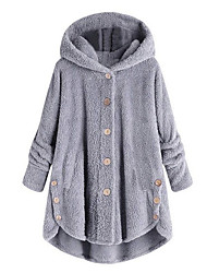cheap -Women's Daily Basic Fall & Winter Regular Coat, Solid Colored Hooded Long Sleeve Faux Fur Black / Wine / Light Blue
