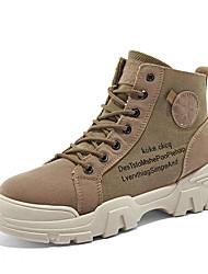 cheap -Women's Boots Platform Round Toe Canvas / Pigskin Casual / British Walking Shoes Fall & Winter Pink / Khaki