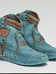 cheap -Women's Boots Cowboy / Western Boots Flat Heel Peep Toe PU Booties / Ankle Boots Spring & Summer Blue