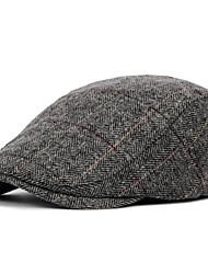 cheap -Men's Basic Polyester Beret Hat-Striped Fall Black Brown Gray